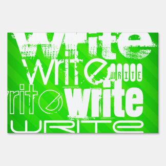 Write; Neon Green Stripes Yard Signs