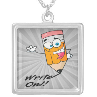 write on right on funny happy pencil cartoon square pendant necklace