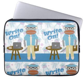 Write On Sock Monkey Laptop Sleeve