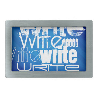 Write; Royal Blue Stripes Rectangular Belt Buckle