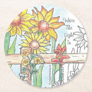 Write The Light In: Gates & Gardens Round Paper Coaster