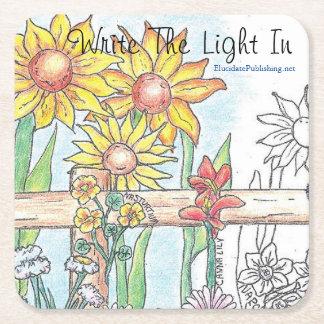 Write The Light In: Gates & Gardens Square Paper Coaster