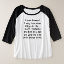 Write Things Down Plus Size Raglan Shirt