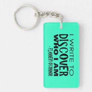Write to Discover Aqua Rectangle Acrylic Keychains