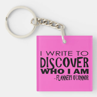 Write to Discover Pink Acrylic Keychains