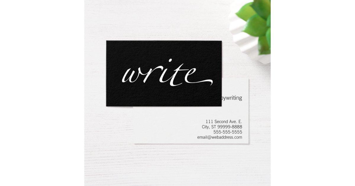 Write: Writer, Copywriter, Freelance Writer Business Card   Zazzle.com