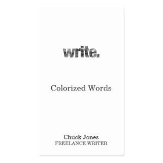 Write: Writer, Freelance Writer, Author Business Card
