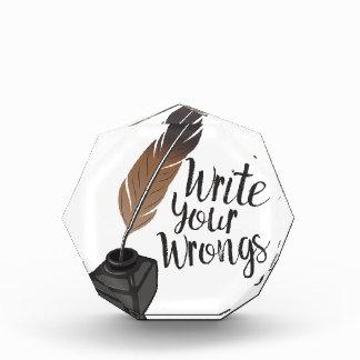 Write Wrongs Acrylic Award