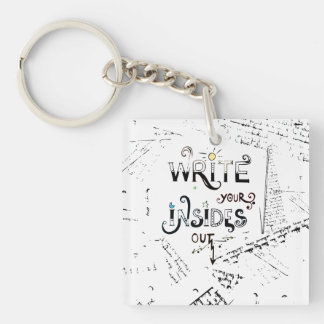 Write your Insides OUT! Double-Sided Square Acrylic Keychain