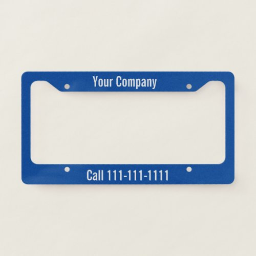 Write Your Message with Gray Text on Deep Blue License Plate Frame