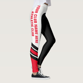 """Write Your Name"" Black/White/Red Leggings"
