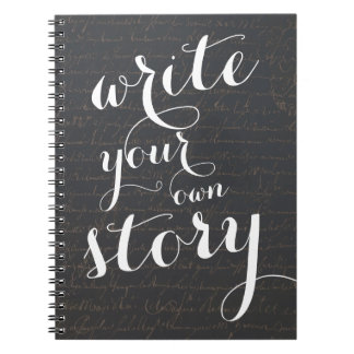 Write Your Own Story Vintage Black Parchment Notebook
