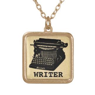 Writer Antique Typewriter Square Pendant Necklace