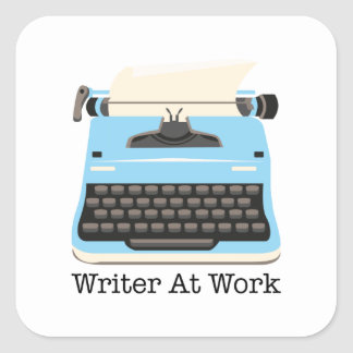 Writer At Work Square Sticker