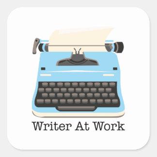 Writer At Work Square Sticker