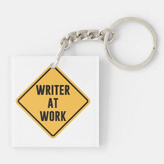 Writer at Work Working Caution Sign Keychain
