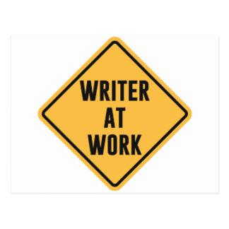 Writer at Work Working Caution Sign Postcard
