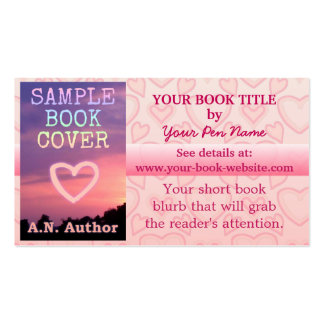 Writer Author Book Promotion Pink White Hearts Double-Sided Standard Business Cards (Pack Of 100)