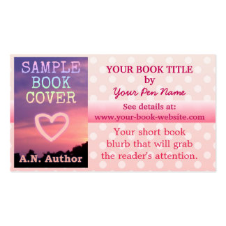 Writer Author Book Promotion Pink White Polka Dot Double-Sided Standard Business Cards (Pack Of 100)