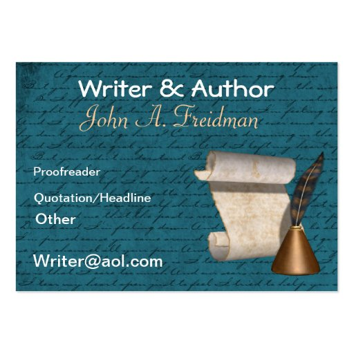 Writer author business card zazzle for Author business card