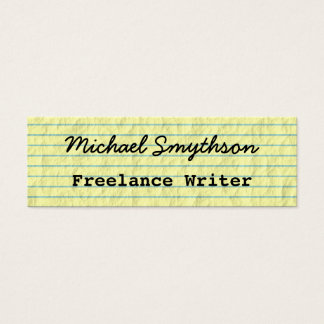 Writer Author Handwritten on Yellow Lined Paper Mini Business Card