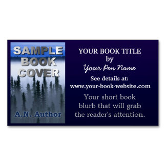 Writer Author Novel Promotion Book Cover Dark Blue Magnetic Business Cards (Pack Of 25)