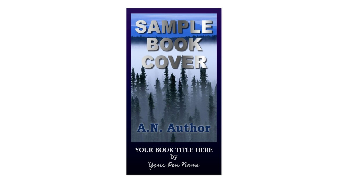 Book Cover Business Cards ~ Writer author promotion big book cover dark blue business
