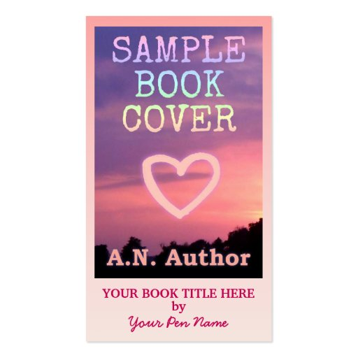 Book Cover Business Cards ~ Writer author promotion big book cover pink ombre business