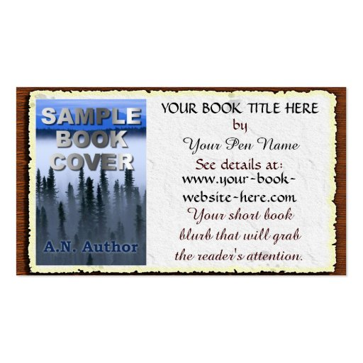 Book Cover Business Cards ~ Writer author promotion book cover aged paper business