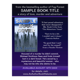 "Writer Author Promotion Book Cover Blue Purple 8.5"" X 11"" Flyer"