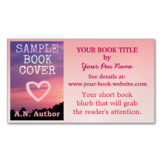 Writer Author Promotion Book Cover Pink Ombre Magnetic Business Cards (Pack Of 25)
