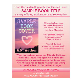 "Writer Author Promotion Book Cover Pink White 8.5"" X 11"" Flyer"
