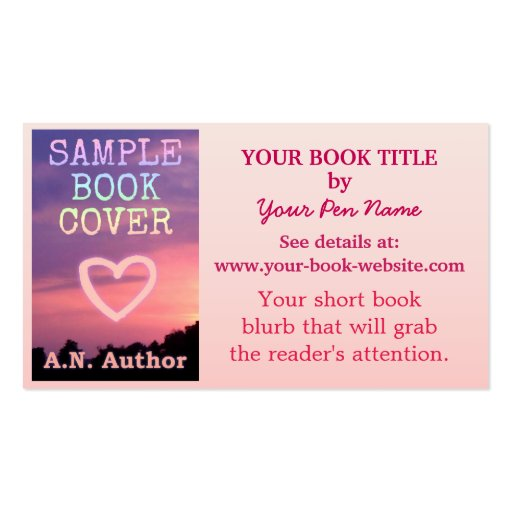 Book Cover Business Cards ~ Writer author promotion book cover pink white business