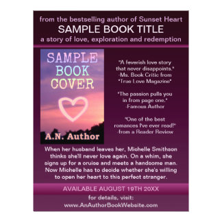"Writer Author Promotion Book Cover Purple Black 8.5"" X 11"" Flyer"