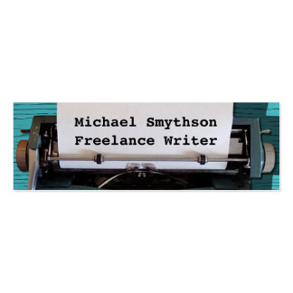 Writer Author Retro Typewriter on Blue Wood 2 Double-Sided Mini Business Cards (Pack Of 20)