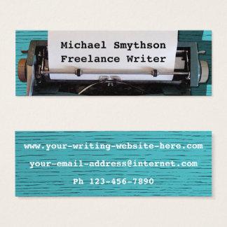 Writer Author Retro Typewriter on Blue Wood 2 Mini Business Card