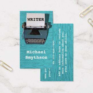 Writer Author Retro Typewriter on Blue Wood Business Card