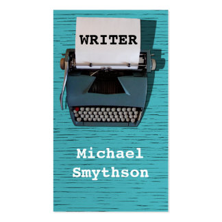 Writer Author Retro Typewriter on Blue Wood Double-Sided Standard Business Cards (Pack Of 100)