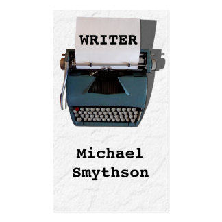 Writer Author Retro Typewriter on Crinkled Paper Business Card Template