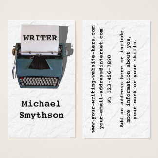 Writer Author Retro Typewriter on Crinkled Paper Business Card