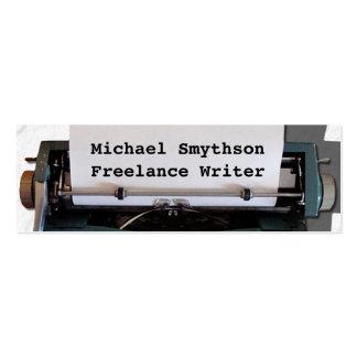 Writer Author Retro Typewriter on Paper Mini Business Card