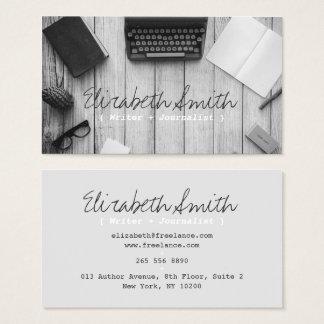 Writer author vintage black and white typewriter business card