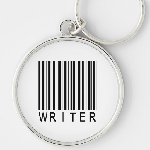 Writer Bar Code Silver-Colored Round Keychain