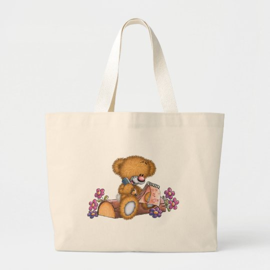 Writer Bear Large Tote Bag