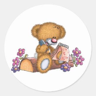Writer Bear Classic Round Sticker