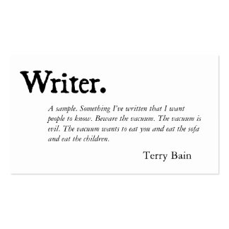 Writer Black White Double-Sided Standard Business Cards (Pack Of 100)