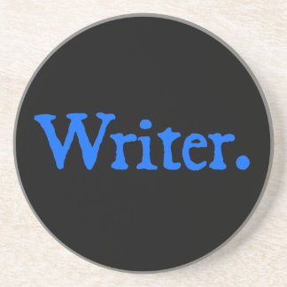 Writer: Blue Text Beverage Coasters