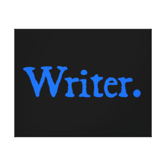 Writer: Blue Text Stretched Canvas Print