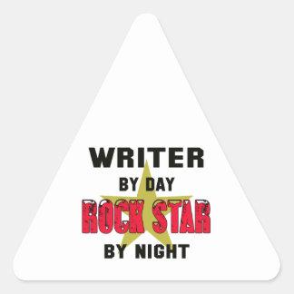 Writer by Day rockstar by night Triangle Sticker