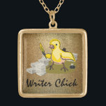 """Writer Chick with Paper, Feather Quill and Ink Gold Finish Necklace<br><div class=""""desc"""">Every writer chick knows what it feels like to be surrounded by stacks of blank paper. Apply some ink with a feather quill, and the magic begins. Makes a perfect gift for your best chick lit pal. This cute yellow chick design is is presented over a glittering gold background. You...</div>"""